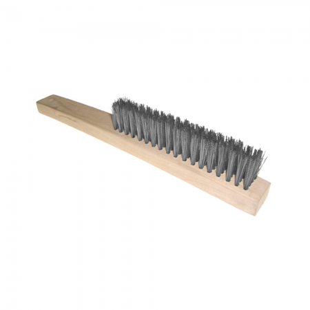 Wood Handle 4 Row Wire Brush