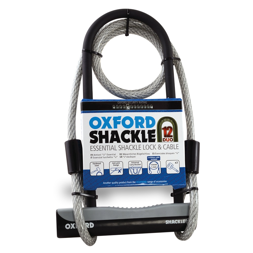 Oxford Shackle 12 Duo D-Lock + Cable